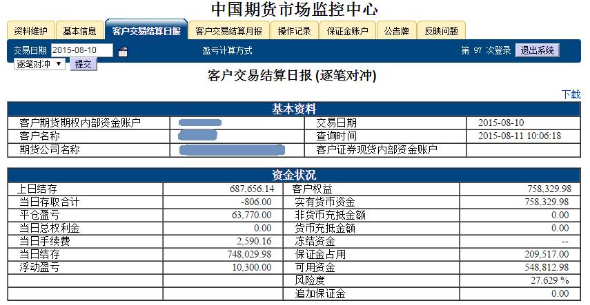 2015.08.10杭州点石股指期货配资客户保证金监控中心随机展示